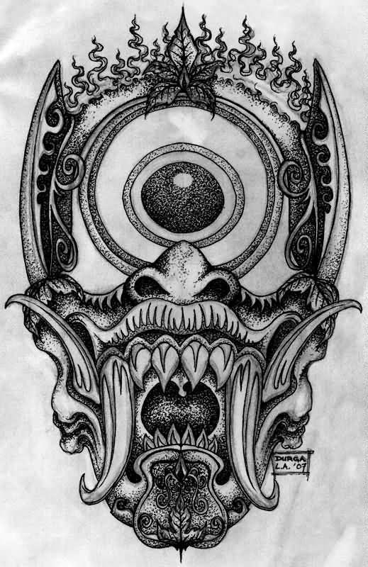Crazy Japanese Demon Tattoo Design