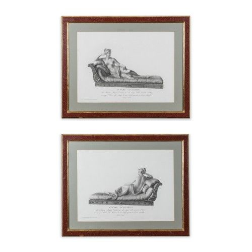 A large pair of elegant, black and white 19th century prints.  They depict different views of the sculpture by Antonio Canova of Paolina Borghese as Venus Victrix.  They are a good decorative piece which are well mounted in good looking frames,  which are a burgundy colour with gilt trim.