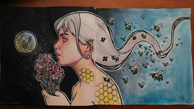 🐝 #beequeen #bee #art #arte #draw #drawingoftheday #drawing #paint #painting #sketchbook #sketch #arteemfoco #artista #sketchaday #flowers #hair #black #artsupplies #desenho #mixedmedia #illustration #illustrationart #illustratorsoninstagram