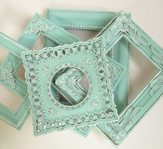 Color crush on mint: shabby chic condo decorations in cream and mint | Shabby Chic Frames Pastel Mint Green Picture Frame Set Ornate Frames