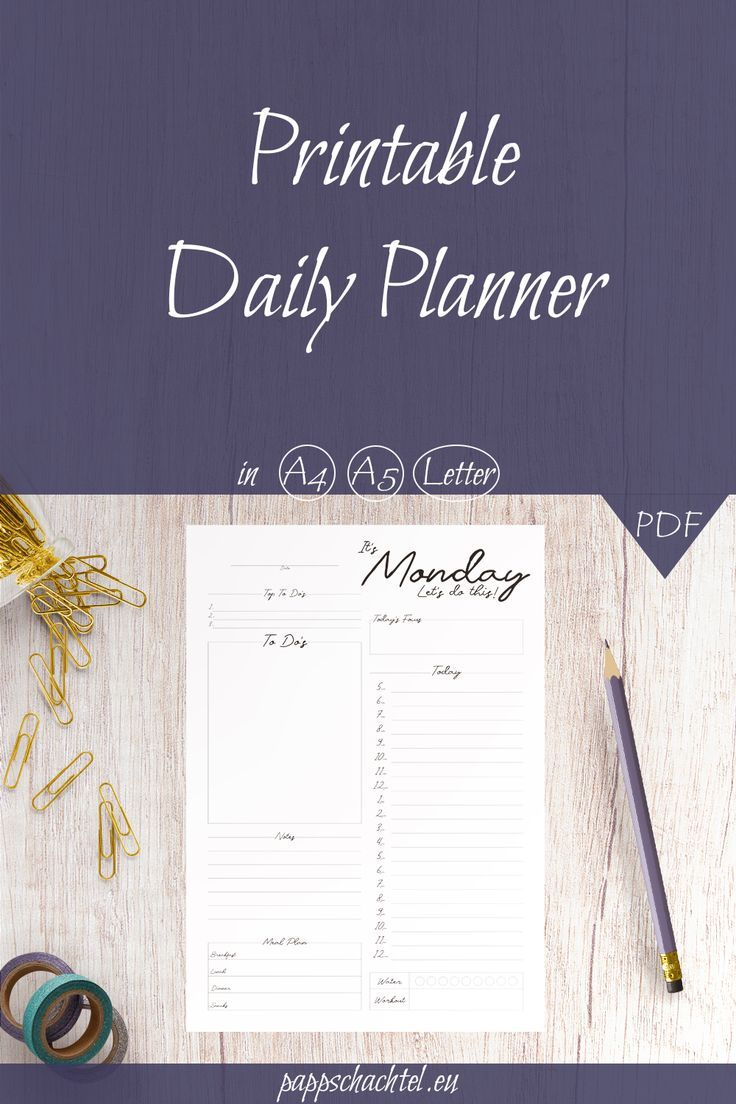 Simple Daily Planner Printable A4 A5 Us Letter Daily Agenda