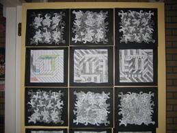 Escher: kleuren met zwart potlood, uitknippen en op zwarte ondergrond plakken