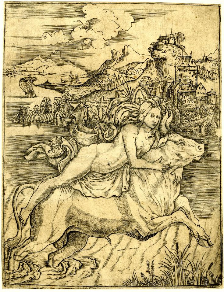 Giovanni Battista Palumba - The rape of Europa; a reversed copy after Palumba with additions in the sky Engraving, 1500-1510