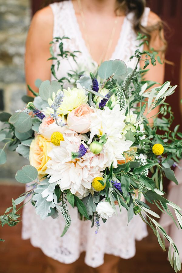 oversized bouquet - photo by Brianna Wilbur Photography http://ruffledblog.com/blush-pink-pennsylvania-farm-wedding