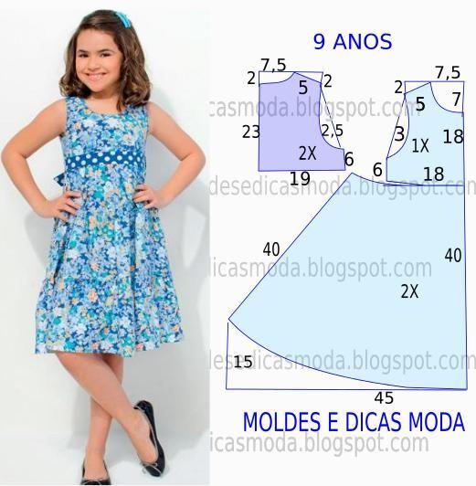 O molde de vestido de criança encontra-se no tamanho 9 anos. A ilustração do molde de vestido de criança não tem valor de costura.