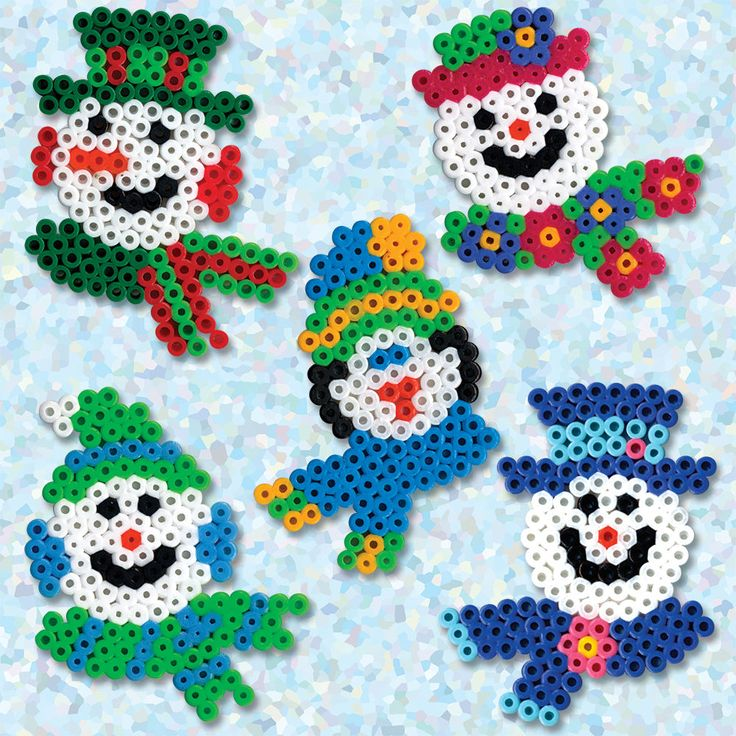 <p>Create these colorful snowmen all dressed up with their fancy hats and scarves and ready for a cold winter! It's all so much fun with Perler beads!</p>