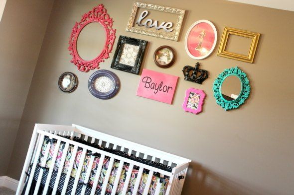 Baby girl room ideas gallery wall, I like this for my room.. Minus the crib, I quite enjoy my bed.
