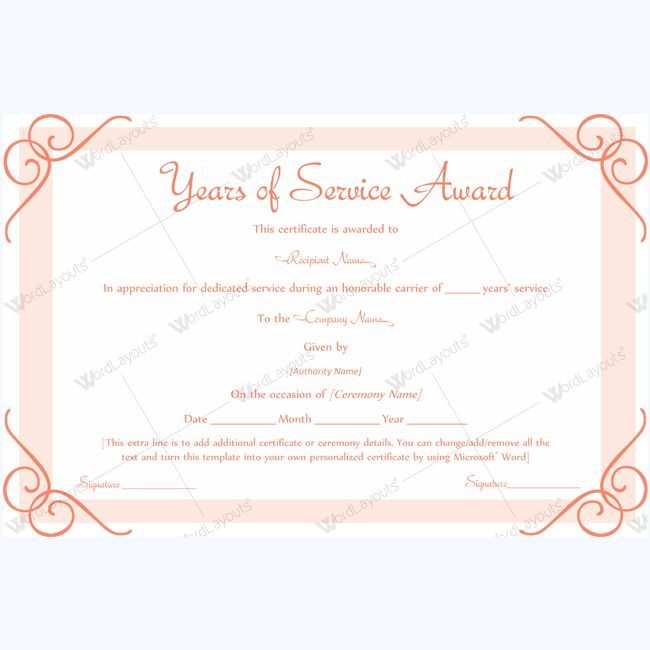 13 best Years of Service Award images on Pinterest Award - microsoft word award certificate template