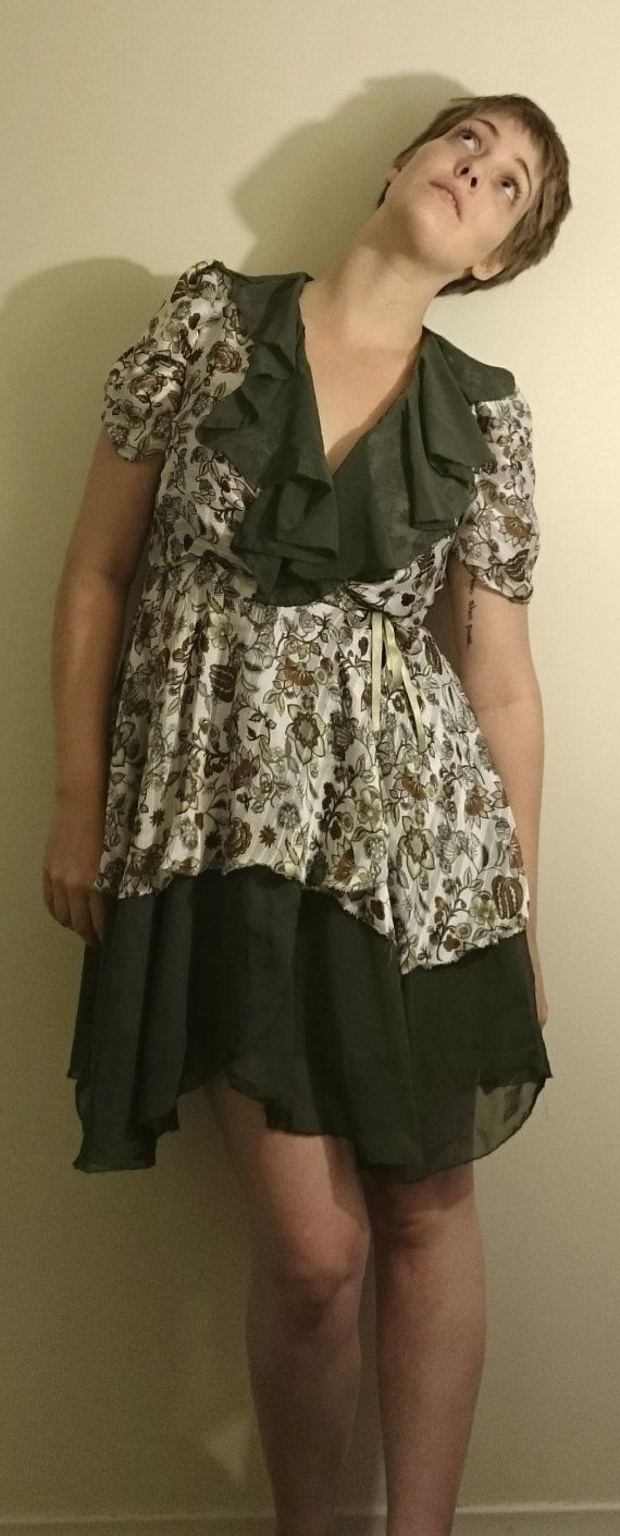 """All That Ruffle"""" Chiffon Wrap Dress - $100 100% Polyester  Mesurements-   Bust- 37"""" Waist- 32"""" Hips- 42"""" (your measurement should fall under this one) Length- (from base of neck) 40"""""""