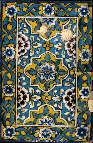 Painted tiles. Jaipur, India, late 19th century