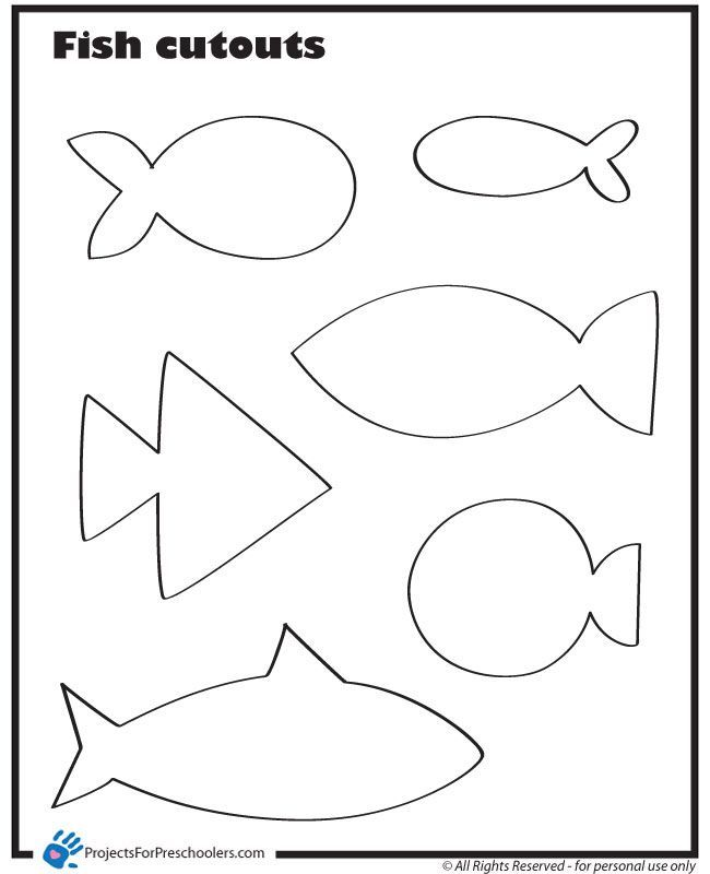 Template for fish - print out on different colored paper for fishing game