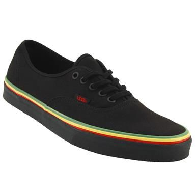 Vans Authentic Rasta Skate Shoes - Mens Black Black  6d2bf0a36