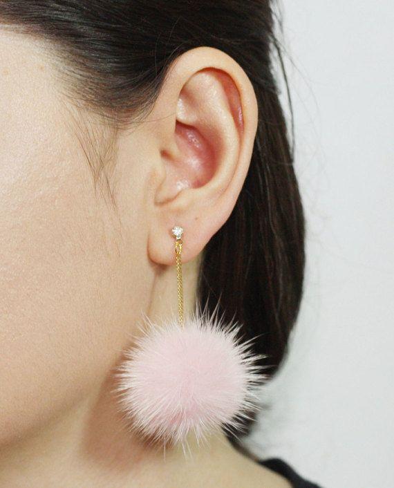 Pom Pom Earrings Mink Fur Pom Pom Earrings by SerendipityinSeoul