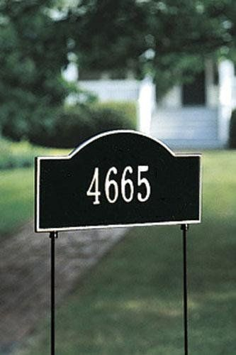 Arch One-Line Two-Sided Standard Lawn Address Plaque - stnd arch/1line, Black by Home Decorators Collection. $112.00. Arch One-Line Two-Sided Standard Lawn Address Plaque - It's Your Own Little Corner Of The World - So Why Not Mark It With Pride? A House Sign Announces A Message Of Distinction. These Premium, Textured And Dimensional Address Plaques Are Designed With Large Letters And Numbers For Maximum Visibility. Choose From Our Exceptional Array Of Custom Address Plaques To...
