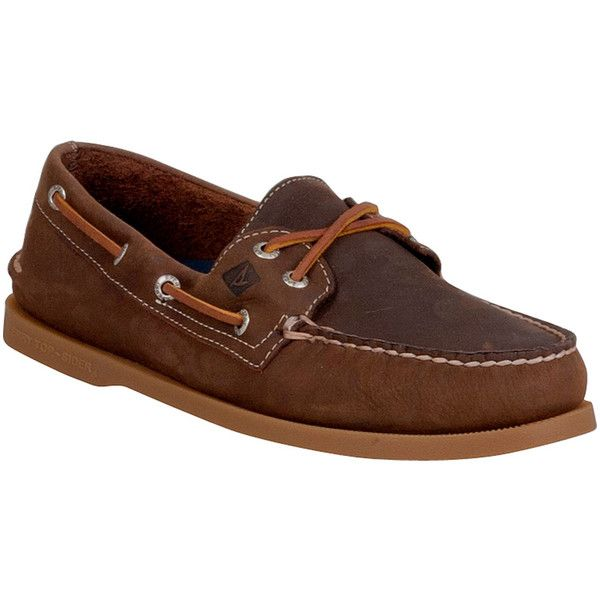 Sperry Men's 2 Eye Cross Lace Boat Shoe Loafer featuring polyvore, men's fashion, men's shoes, men's loafers, brown, mens loafer shoes, sperry top sider mens shoes, mens topsiders, sperry mens shoes and mens loafers