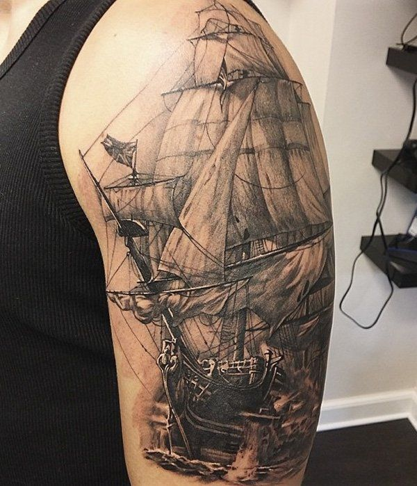 Boat sleeve tattoo for men - 100 Boat Tattoo Designs  <3 <3