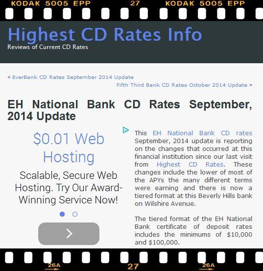 This EH National Bank CD rates September, 2014 update is reporting on the changes that occurred at this financial institution since our last visit from Highest CD Rates. You can continue reading at http://www.highestcdratesinfo.com/eh-national-bank-cd-rates-september-2014-update/