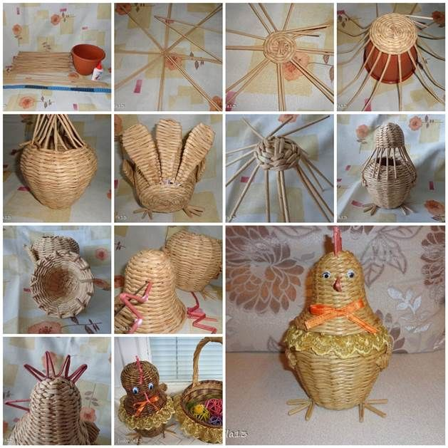 DIY Weaving Paper Chicken Storage Basket | iCreativeIdeas.com Like Us on Facebook ==> https://www.facebook.com/icreativeideas