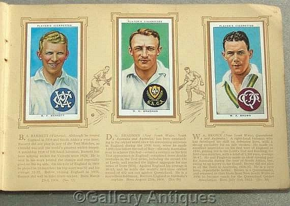 Sold Vintage Cricketers 1938 Full Set of 50 Cigarette Cards in Original Album by John Player & Sons #followvintage