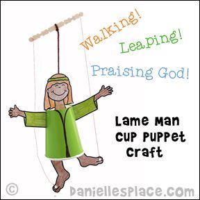 "Paper Cup Puppet - Walking, Leaping, and Praising God!"" Lame Man Puppet for Peter Heals the Lame Man Sunday School Lesson from www.daniellesplace.com"
