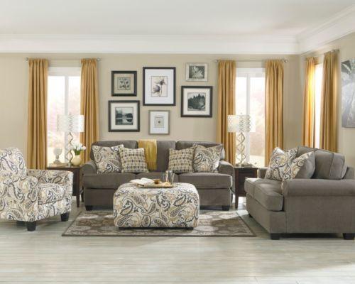 Ashley Coulson Smoke Gray Paisley Chair Sofa Loveseat Sleeper Bed Furniture