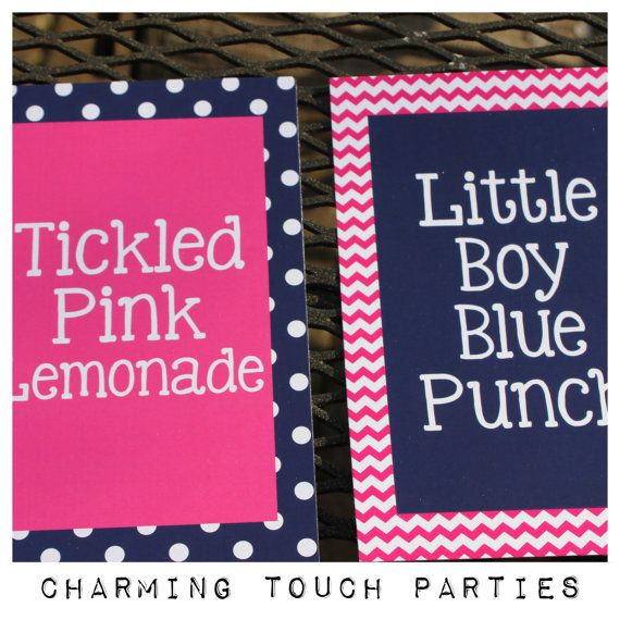Two 5x7 Gender Reveal party signs You by CharmingTouchParties, $15.00