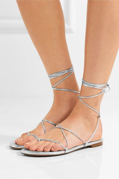 Michael Kors Collection - Bradshaw Metallic Leather Sandals - Silver - IT35.5