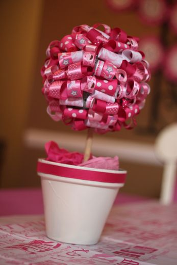"""Sweet ribbon topiary for a """"pinkalicious"""" 4th birthday."""