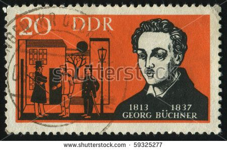 GERMANY- CIRCA 1963: stamp printed by Germany, shows Georg Buchner, circa 1963.