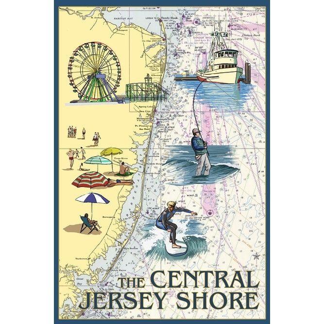 Central Jersey Shore - Nautical Chart - LP Artwork (100% Cotton Towel Absorbent), Blue wash