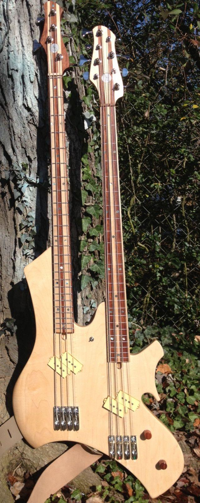 Custom Handmade Doubleneck 4 8 String Electric Bass Guitar Fretted Fretless | eBay