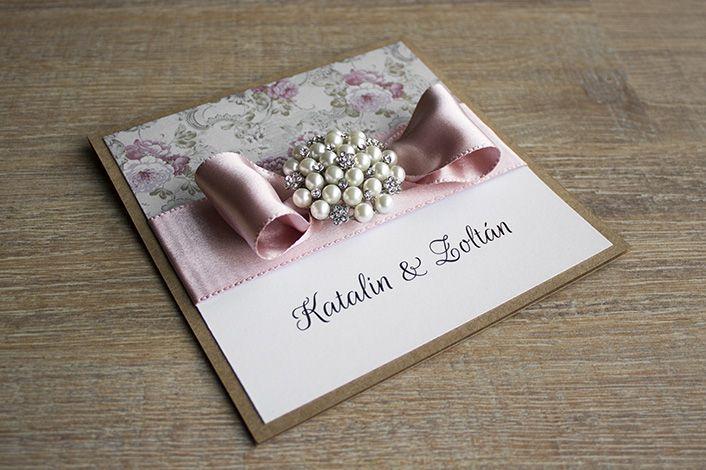 flocked wedding invitation, wedding invitation with vintage pearl, wedding invitation with ribbon