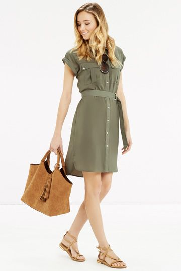 Shirt dress. Great color, like the style and length.