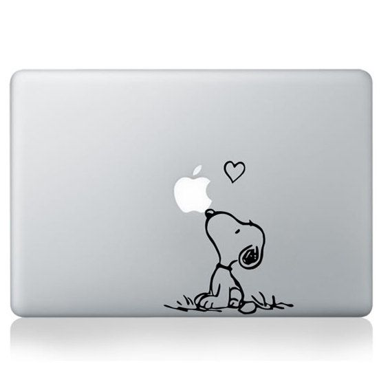 Snoopy Macbook etiqueta, pegatina de Snoopy amor Macbook, amor calcomanías de aire de Macbook Pro, Mac etiquetas, calcomanías portátil, Apple calcomanía de vinilo, Die corte etiqueta