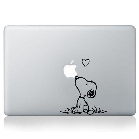 Snoopy Macbook etiqueta, pegatina de Snoopy amor Macbook, amor calcomanías de aire de Macbook Pro, Mac etiquetas, calcomanías portátil, Apple calcomanía de vinilo, Die corte etiqueta