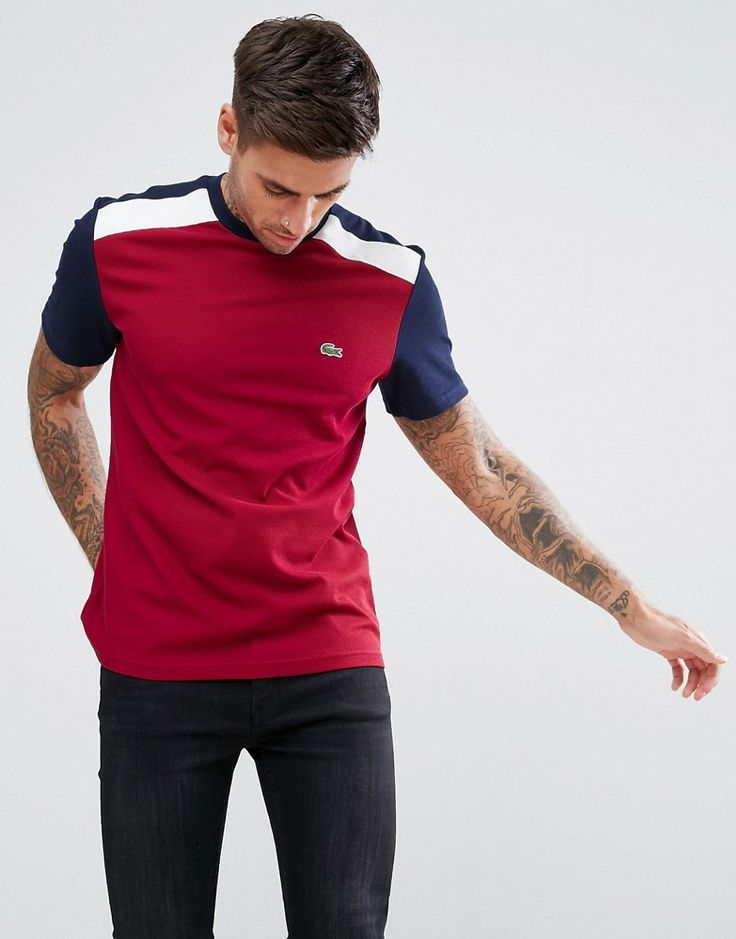 Get this Lacoste's polo shirt now! Click for more details. Worldwide shipping. Lacoste Pique Colour Block T-Shirt In Burgundy - Red: T-shirt by Lacoste, Breathable cotton pique, Crew neck, Short sleeves, Colour-block design, Lacoste crocodile logo to chest, Regular fit - true to size, 100% Cotton. Famed for their iconic crocodile emblem, Lacoste was founded by tennis superstar Ren� Lacoste in 1933 and was first to introduce the pique polo shirt. Utilising their sporting background, Lacoste…