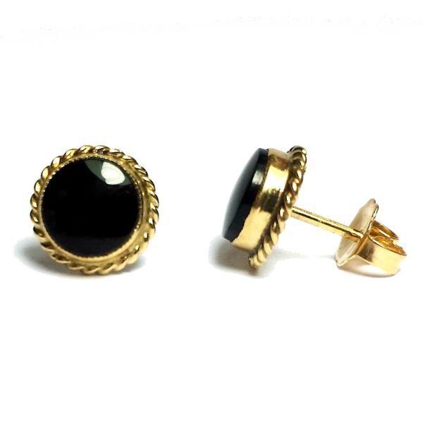 Estate 14 Karat Yellow Gold 2 Black Onyx Friction Back Post Stock #210-2000351