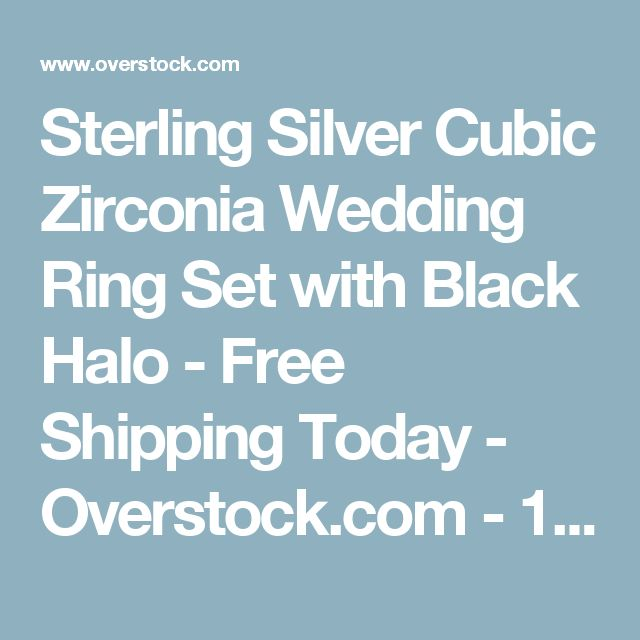 Sterling Silver Cubic Zirconia Wedding Ring Set with Black Halo - Free Shipping Today - Overstock.com - 17175317