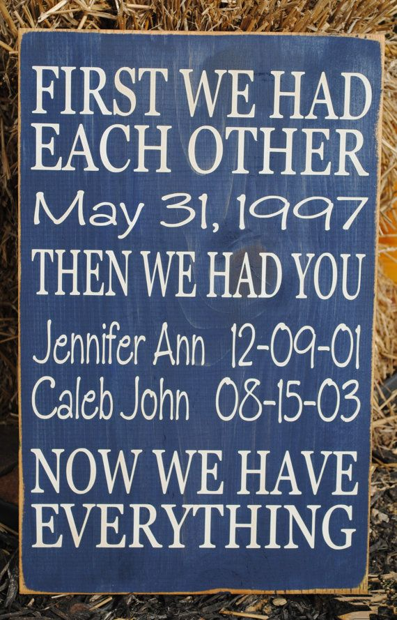 """Personalized First we had Each Other, Then we had You Wooden Vinyl Sign 12"""" x 18"""".  Wall decor by HD Vinyl Designs"""