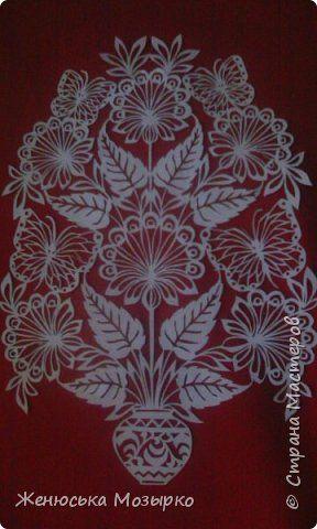 Картина панно рисунок Вырезание Букет вытынанка Бумага фото 5