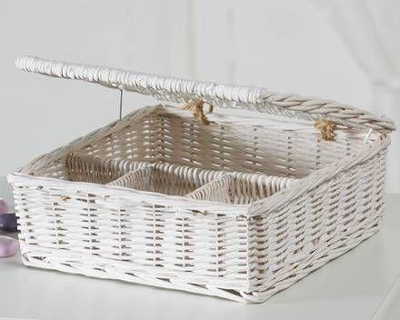 Weidenbox mit Deckel (weiß)