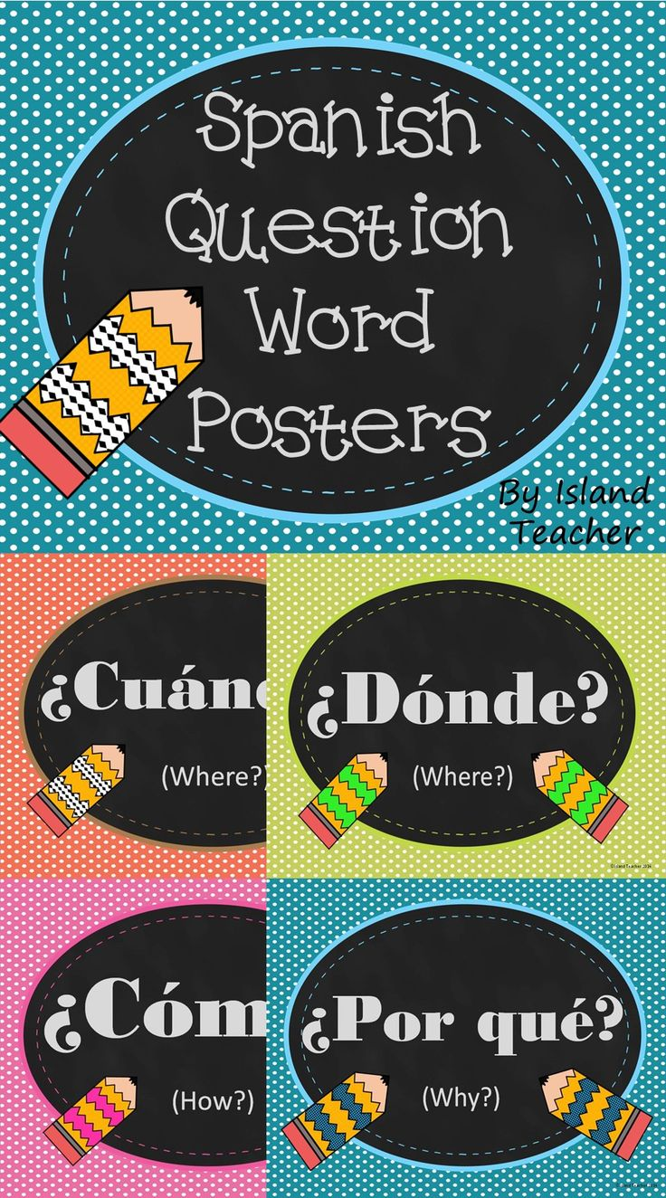 Spanish question word posters, 2 versions (one Spanish only and one with translations).