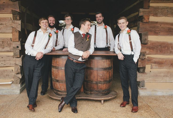 Love this casual groom and groomsmen attire for a rustic fall wedding. View more here! Pics by @leahbullard | The Pink Bride www.thepinkbride.com