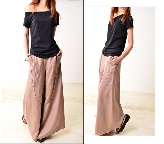 Moon forgot  linen skirt pants K1206b by idea2lifestyle on Etsy, $58.00