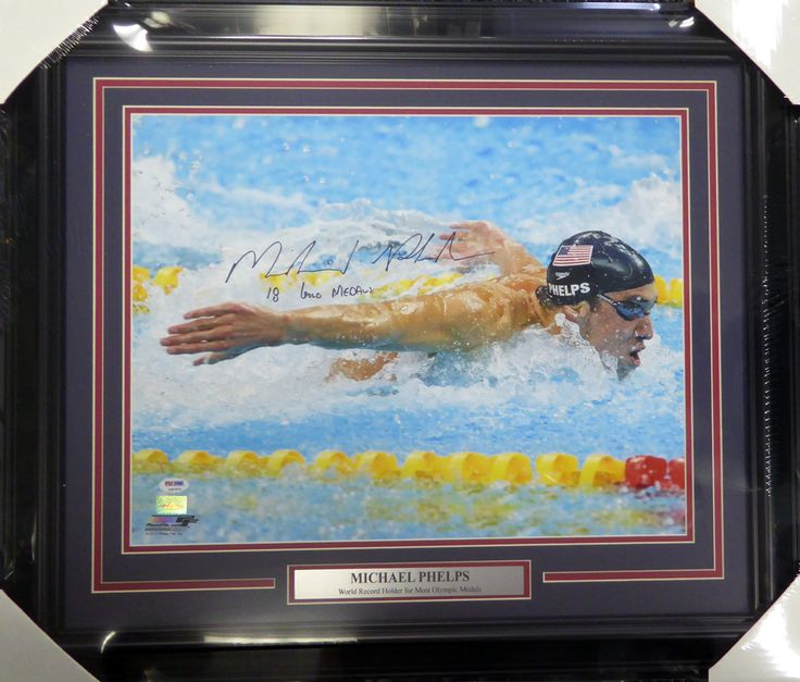 "Michael Phelps Autographed Framed 16x20 Photo Team USA ""18 Gold Medals"" PSA/DNA ITP"