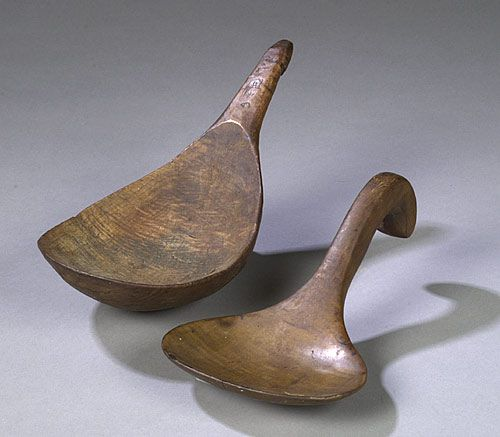 Curly Maple Butter Worker & American Indian Spoon, - Cowan's Auctions