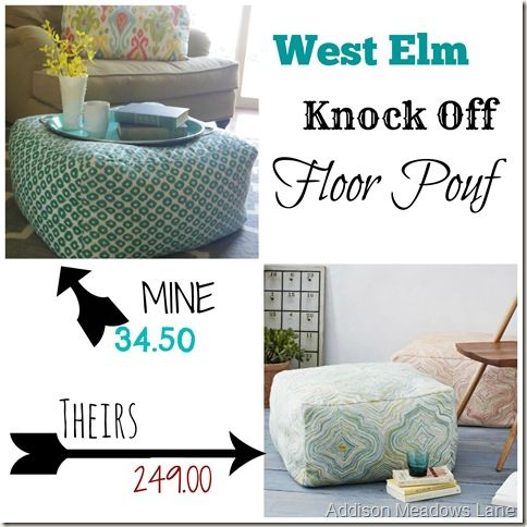 West Elm Knock Off Floor Pouf  by Addison Meadows Lane ~ shared at DIY Sunday Showcase Link Party on VMG206 (Saturdays at 5pm CST). #diyshowcase  #westelmknockoff #knockoff
