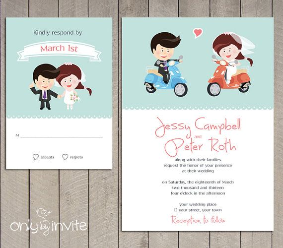 Vespa scooter wedding invite | Funny wedding invitation | Cartoon Bride & Groom Wedding Invitation Printable |  Couple on scooter