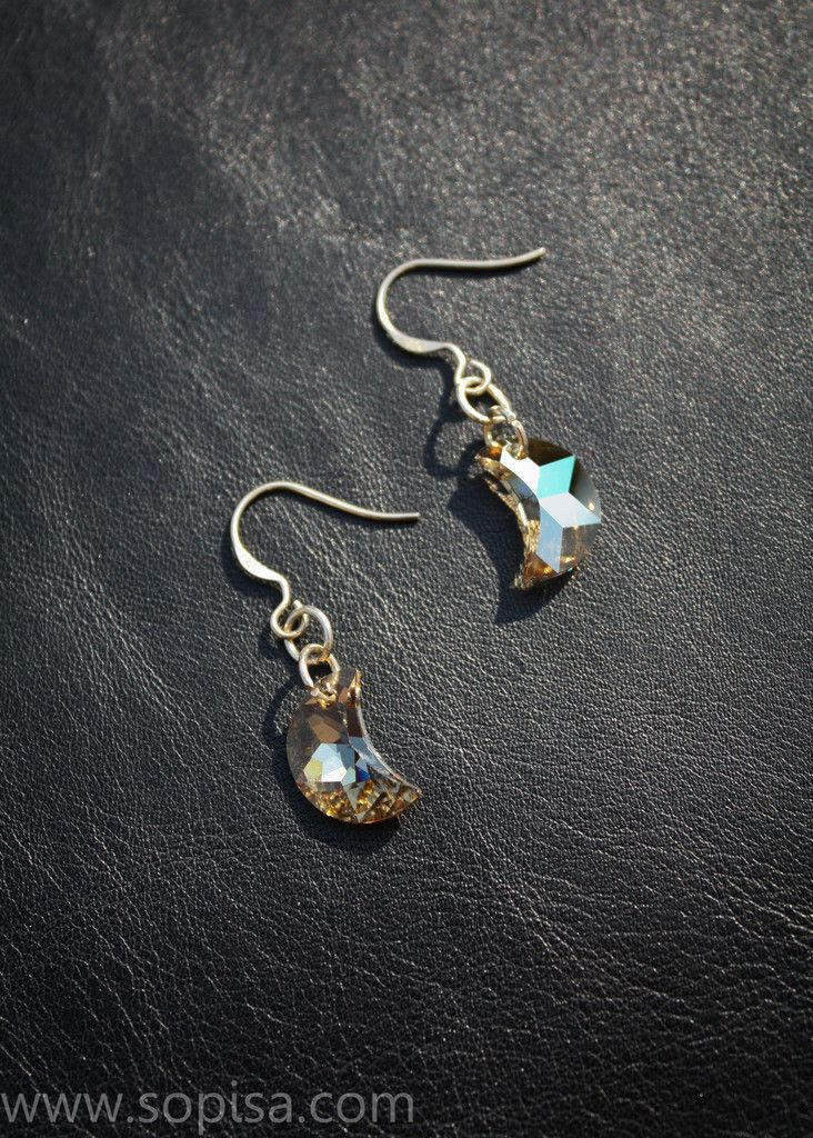 Sterling Silver Earrings With Crystal Moon