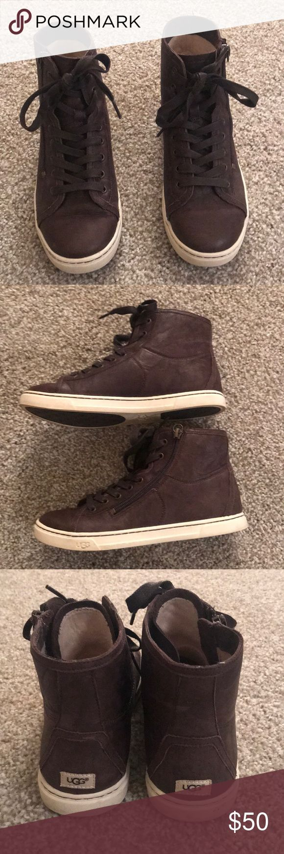 Brown Ugg Sneakers/booties Really comfy brown hair ugh sneaker/booties with zipper on the side. UGG Shoes Ankle Boots & Booties